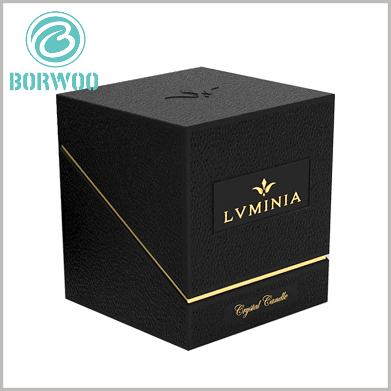 high-end black candle packaging boxes with logo. The black art paper and patterns completely cover the surface of the candle packaging, which can better reflect the elegance of the product.