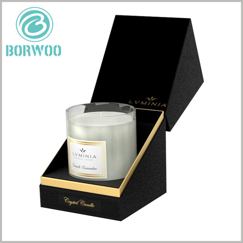 high-end black cardboard candle jar packaging boxes. There is high-density black EVA inside the candle package, which is easy to fix the candle glass bottle and maintain the product stability.