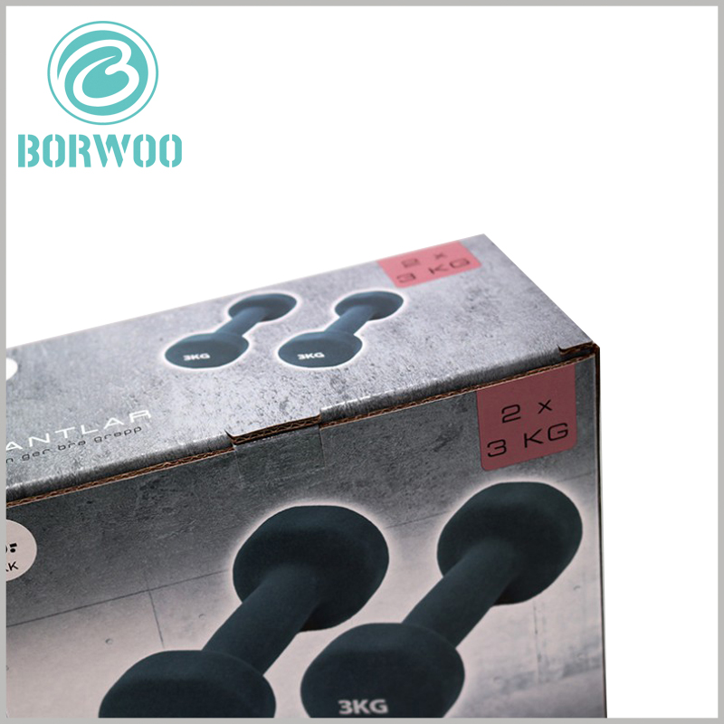high quality corrugated packaging for dumbbells. CMYK printing allows customized packaging to have excellent promotional functions, which can make product packaging unique and differentiated.