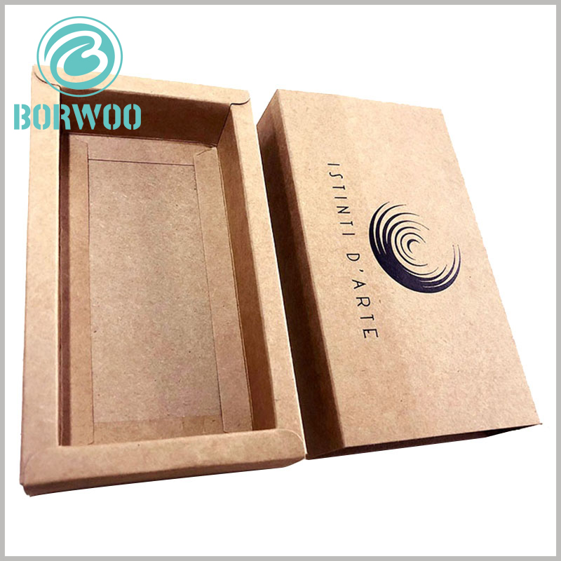 kraft paper packaging boxes with logo. Kraft drawer boxes are packed, and the inner box can be pushed from any side to open the package.