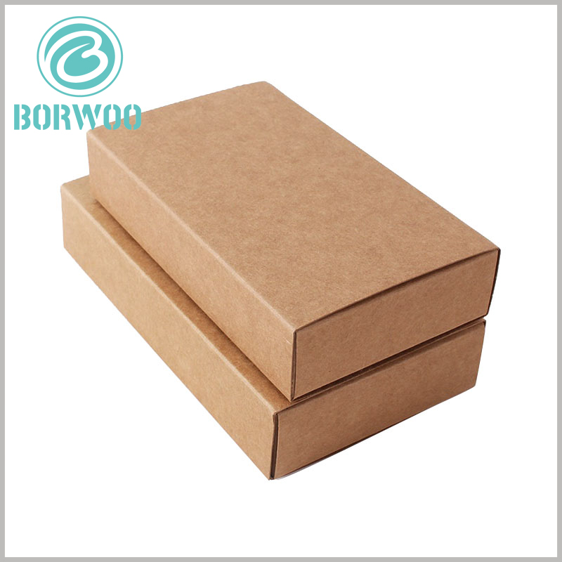 kraft paper packaging drawer boxes. According to the characteristics of the product, specific content can be printed on the kraft paper package, so that the package has a targeted publicity.