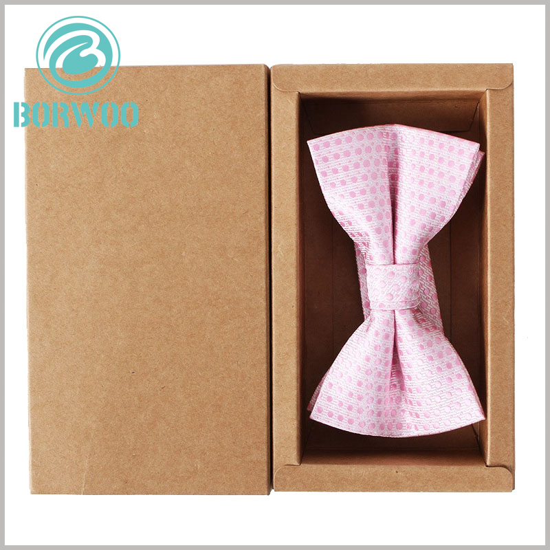 kraft paper packaging for bow tie boxes. The compact packaging structure avoids waste of packaging materials and reduces packaging manufacturing costs.