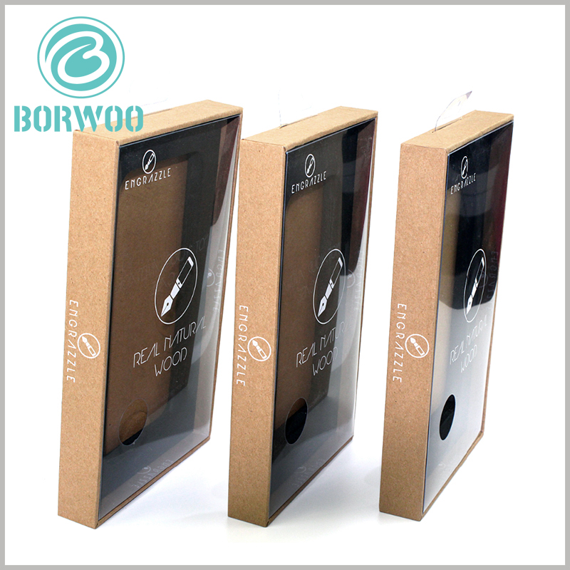 kraft paper packaging for tempered glass screen protector. The packaging is not entirely made of kraft paper as the only raw material, but the kraft paper is covered on the surface of the outer box to give the packaging a brown visual sense.
