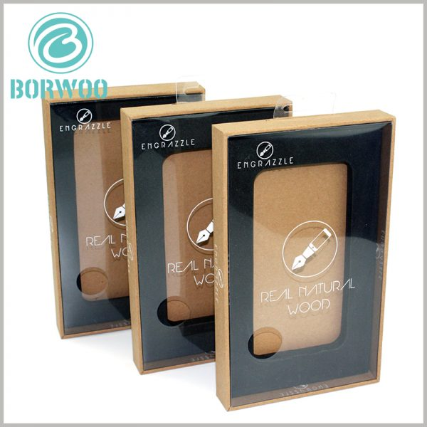 kraft tempered glass screen protector packaging boxes with windows. The brand name and product pictures are printed on the transparent windows of the window packaging.