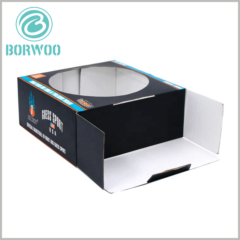 large corrugated packaging with window. At the edge of the sports package, there are multiple buckle positions, which can be fully expanded or firmly fixed.