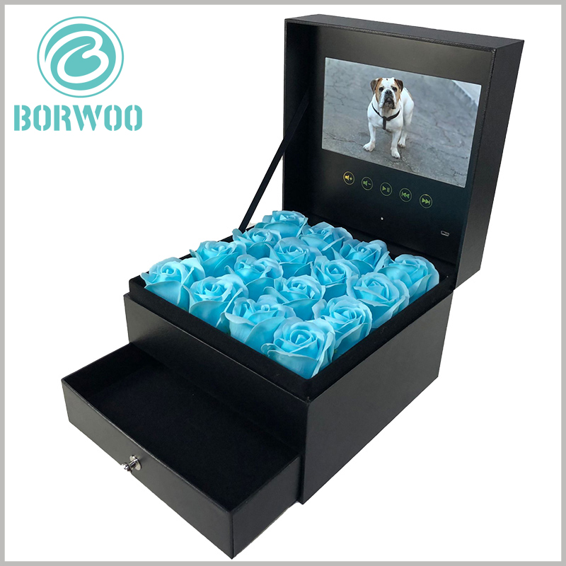 large flower packaging boxes with video screens. The flower packaging box with drawer, and the inner box of the drawer can be filled with gifts such as food, jewelry, and small accessories.