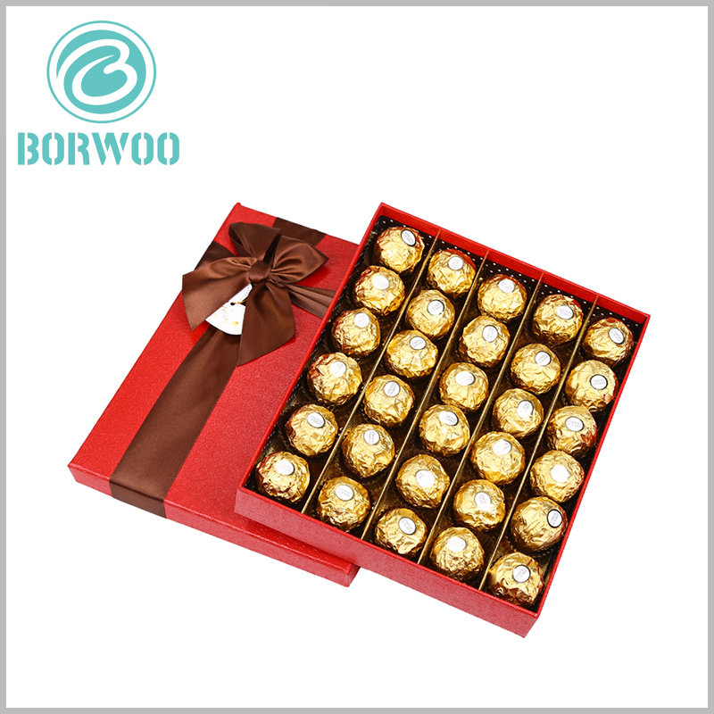 large gift boxes packaging for 30 chocolates. Chocolates are neatly arranged inside the packaging in the form of 5 rows and 6 columns in the luxury gift boxes.