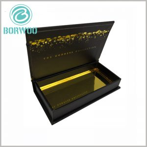 luxury black gift boxes for eyelash. There is an artistic pattern formed by bronzing printing on the inside of the lid of the mink eyelash packaging, which reflects the artistic and fashionable cosmetics