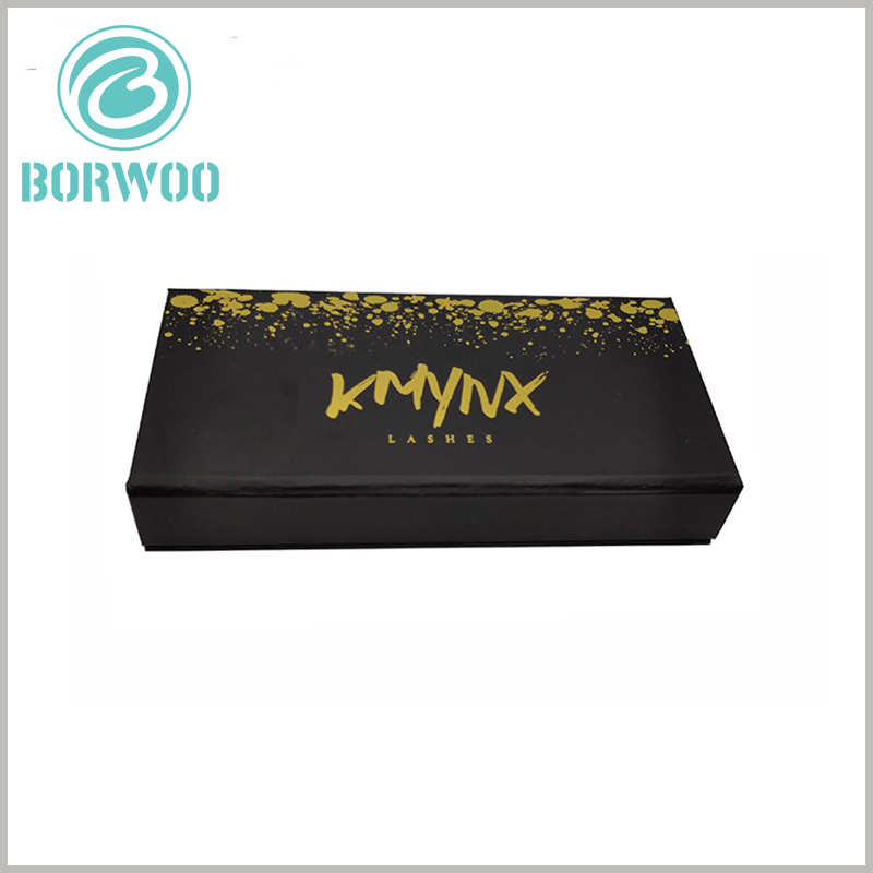 luxury black gift boxes for eyelashes. The black false eyelashes packaging has only two colors, black background and gold (brand name and pattern) information
