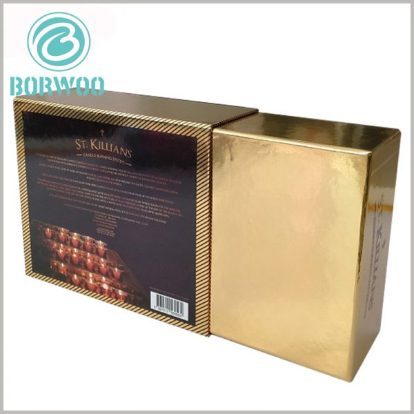 luxury cardboard boxes for candle. Detailed product information, promotional slogans, product pictures, etc. are printed on the back of the candle packaging to highlight the characteristics of the product.