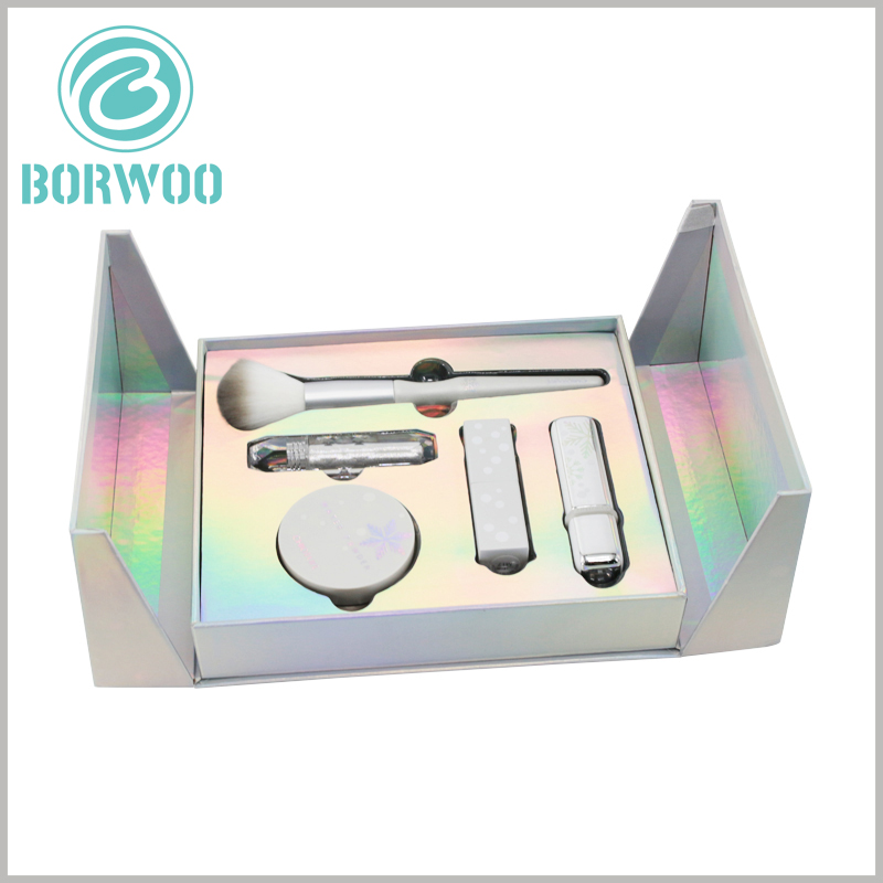 luxury cosmetic gift boxes set. The inside of the cosmetic packaging box uses laser paper as laminated paper. From different angles, the inside of the packaging has different colors of luster.