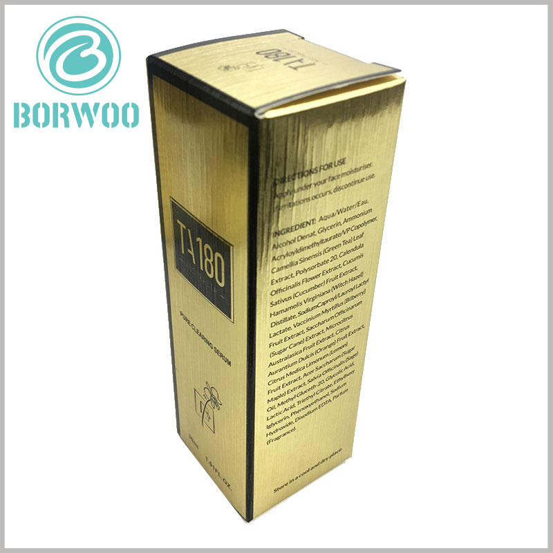 luxury cosmetic packaging boxes custom. Customized cosmetic boxes use 350gsm gold cardboard as raw materials, and the packaging has a golden visual appearance as a whole.