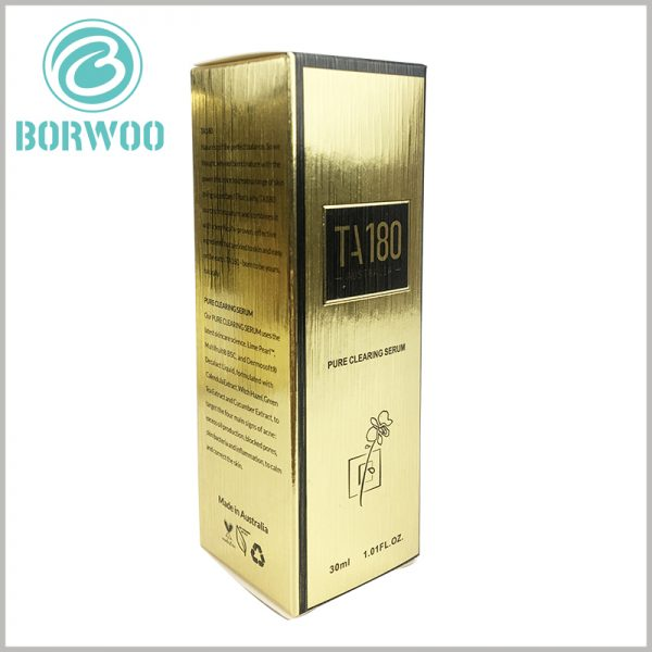 luxury cosmetic packaging boxes wholesale. The foldable golden cardboard boxes are printed with detailed text, which will fully explain the product.