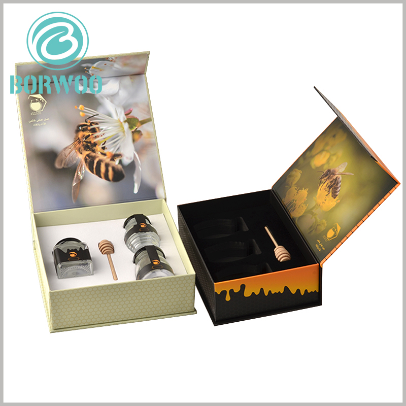 luxury creative food packaging for honey. The customized honey packaging design is unique, can attract the attention of customers, and promote the product well to promote the purchase behavior.