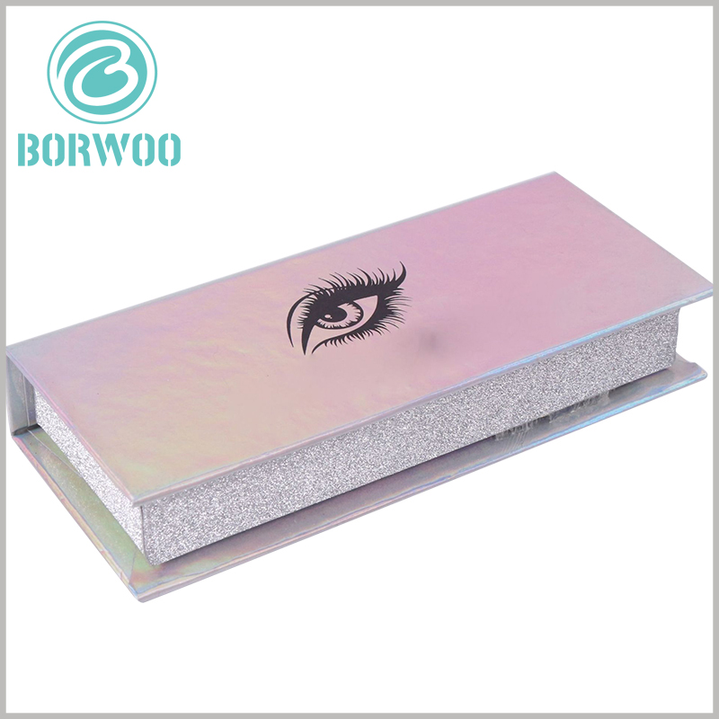 luxury silver glitter eyelash box packaging custom. The surface of the white cardboard boxes uses laser paper, and the packaging will have different colors when viewed from different angles.