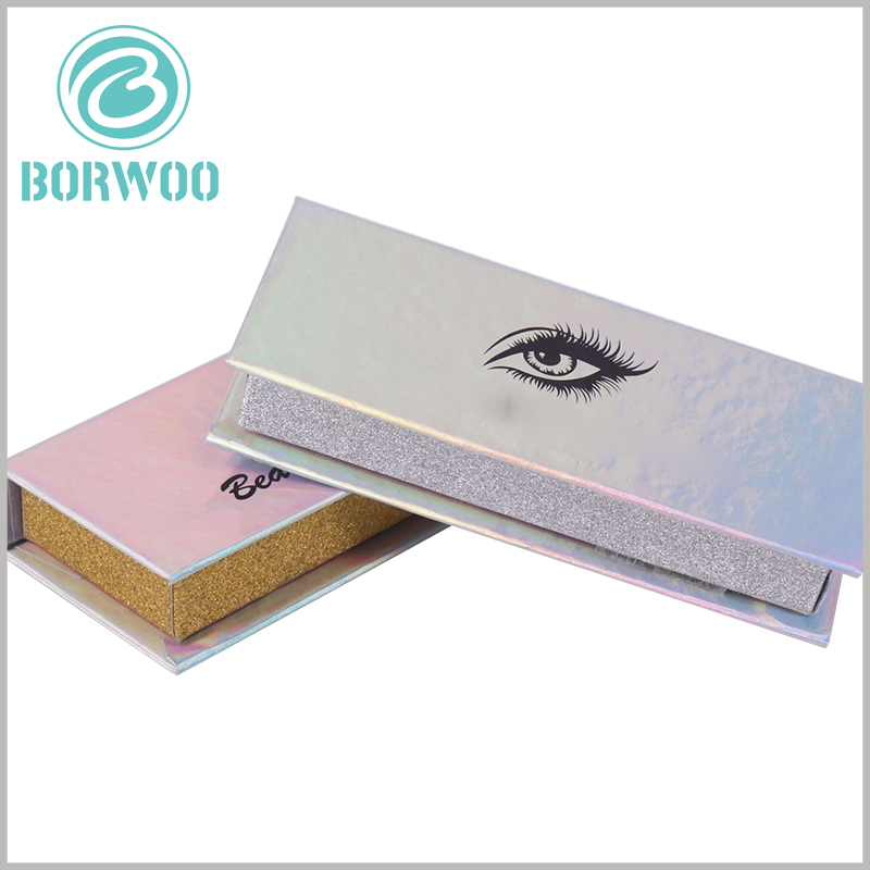 """luxury silver glitter eyelash box packaging wholesale.With the help of the """"eyes"""" of 3D design and printing, the attractiveness of cosmetic packaging is improved, which is more conducive to product sales."""