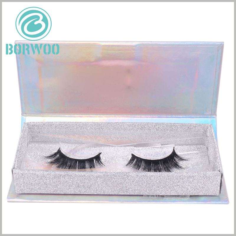 luxury silver glitter eyelash box packaging. Cosmetic packaging design uses fashion elements and uses helpful raw materials to enhance the attractiveness of packaging and products.