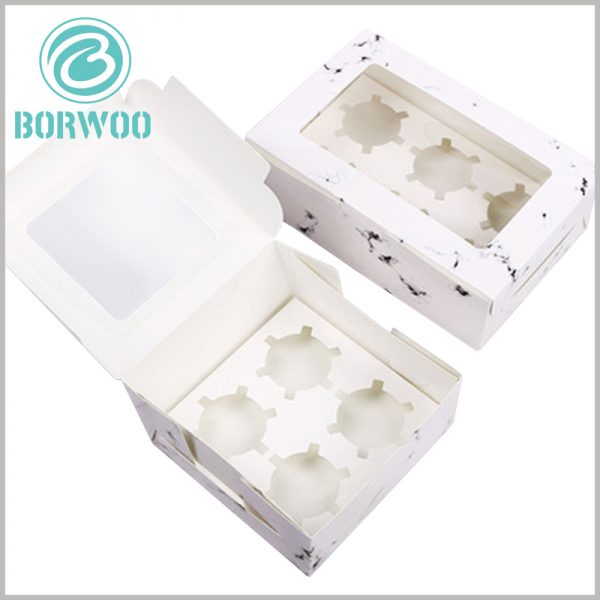 """mini cupcake boxes with """"white marbled road"""". Food packaging is based on 350gsm single-powder paper as the raw material, giving customized packaging with foldable characteristics."""
