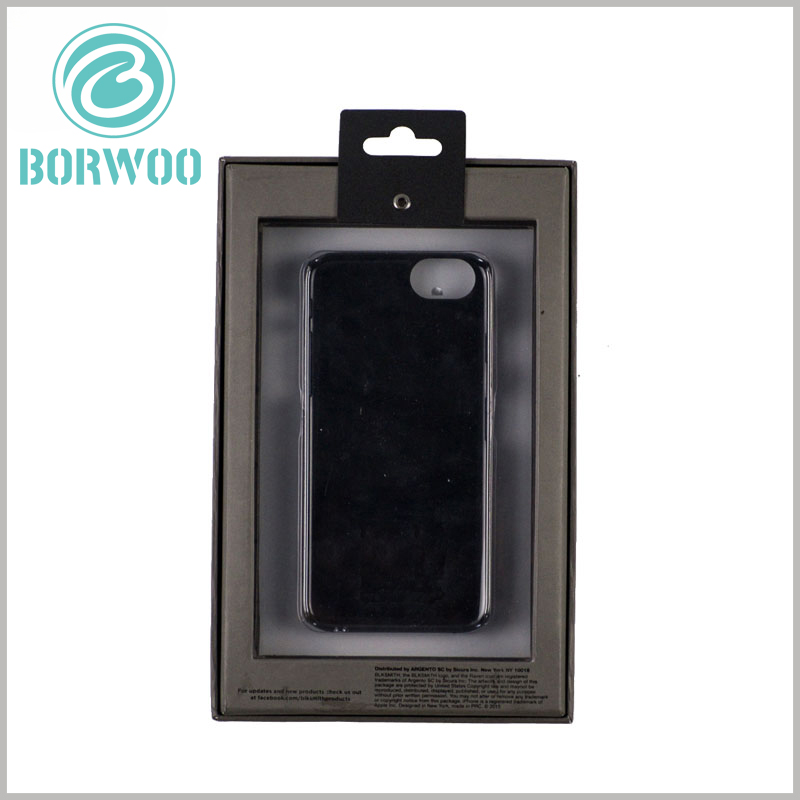 mobile phone case packaging with window. The mobile phone case needs to be fixed inside the package, and a specific shape of blister or other inserts can be placed inside the package.