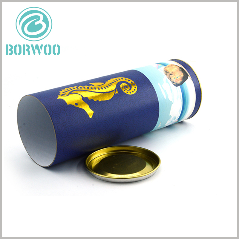 paper food grade tube packaging with Metal cover. The metal lid of the paper tube packaging can be selected from the existing specifications or can be customized.