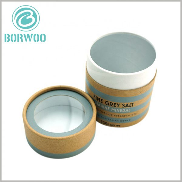 paper tube packaging for 250g sea salt with windows. Small round boxes with lids, a round transparent window is set on the top of the lid.
