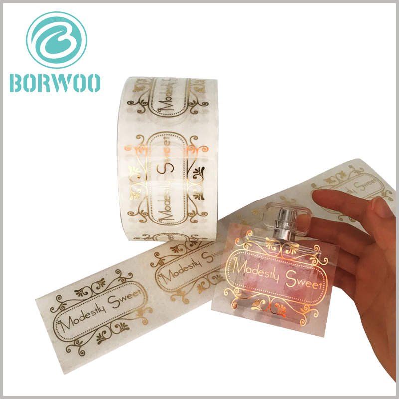 perfume bottle clear labels gold foil print.The size of the customized label is not fixed, it can be customized according to the specifications, shape and capacity of the perfume glass bottle to fully fit the product.