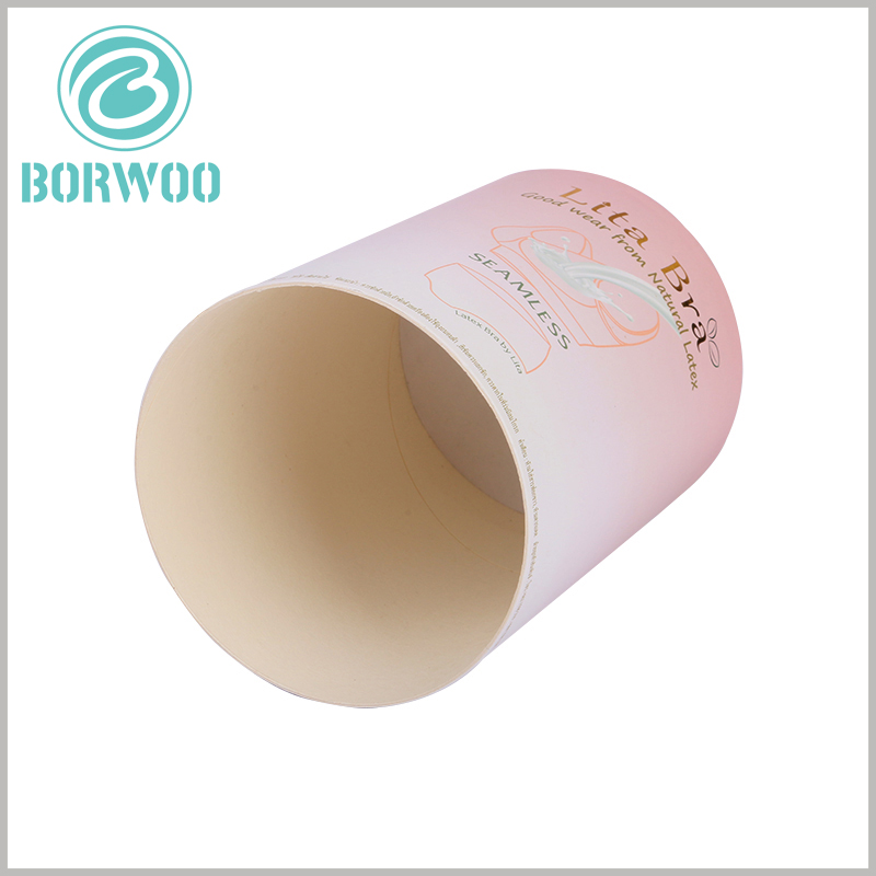 printable paper tube for bra packaging. The underwear packaging is made of white cardboard, and the cut part of the paper tube is also pure white