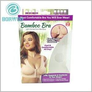 printable underwear bra packaging with windows. The windows of the custom packaging are irregular, and the underwear styles inside the packaging can be seen from the front and the side through the windows.