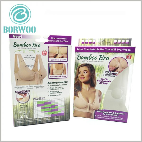 printable underwear packaging for bra. Custom packaging design needs to pay attention to the need to combine product characteristics and brand value to promote successful product marketing.