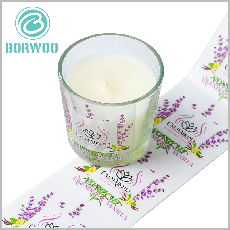 printalbe plastic label for candles jars.The artistically designed candle label is pasted on the glass jar to increase the artistry and attractiveness of the candle container.