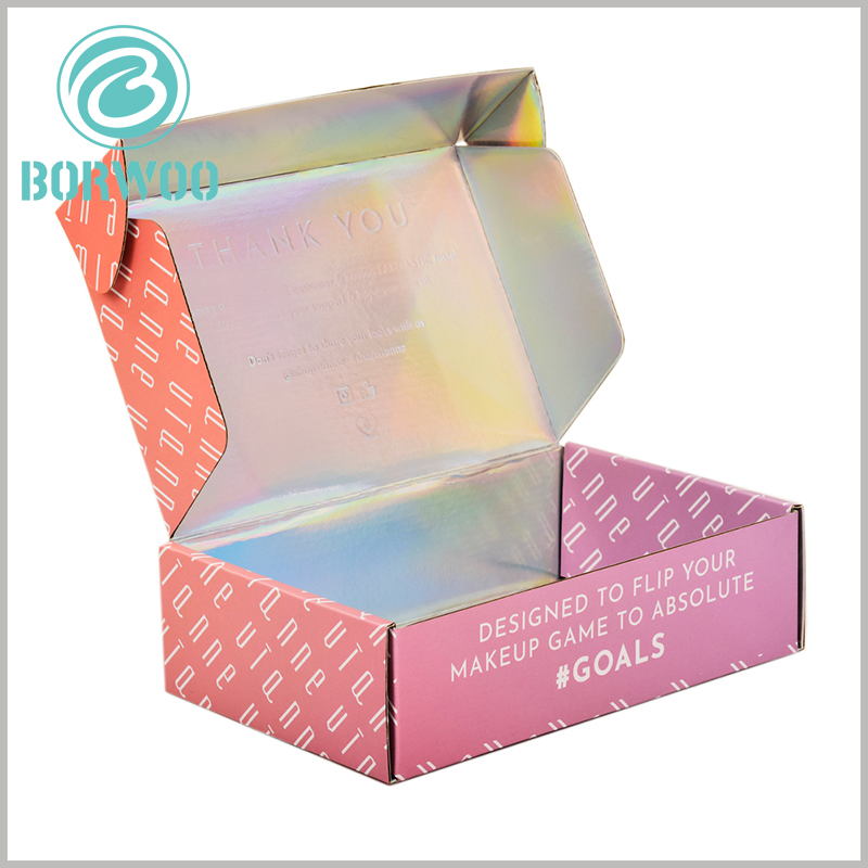printed corrugated packaging for makeup boxes. The laser paper inside the box can emboss to print the brand name or related information to promote the brand.