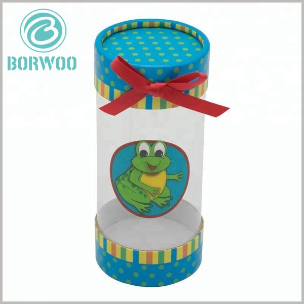 printed plastic tube gift boxes with bows. The material of the customized tube packaging is high-quality, making the plastic tube packaging rigid or semi-rigid.