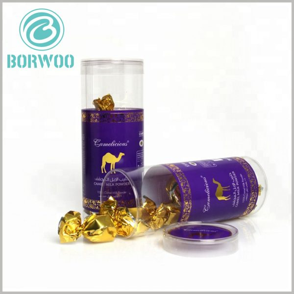 printed plastic tube packaging for candy. Text and patterns are printed on the customized tube packaging to provide specific description and explanation of the product.