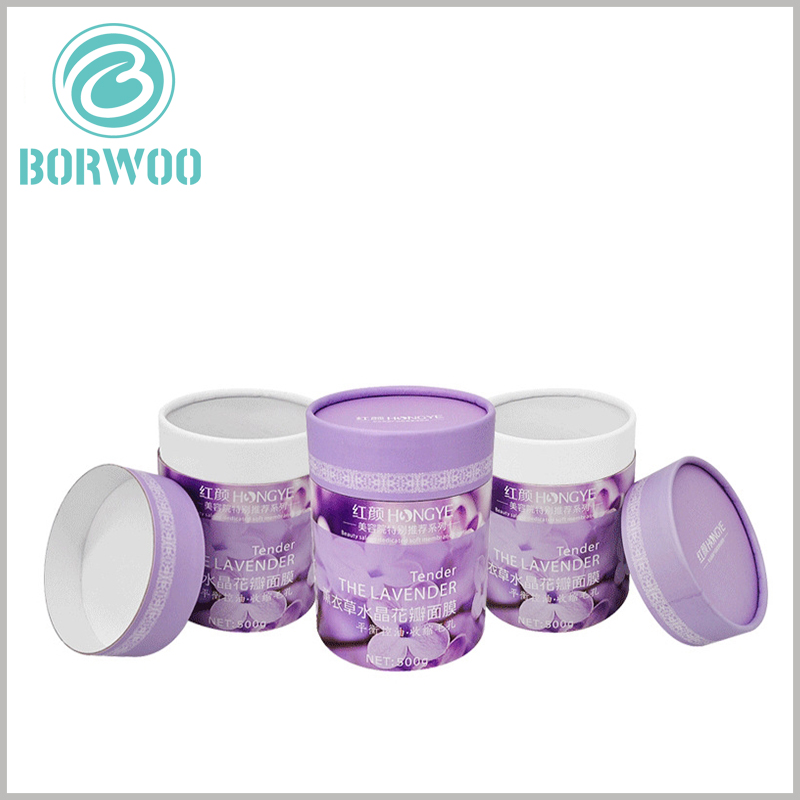 skin care packaging boxes for Facial mask. Large cardboard tube packaging boxes, customized printing content integrates product characteristics, and can quickly determine product types with the help of packaging.