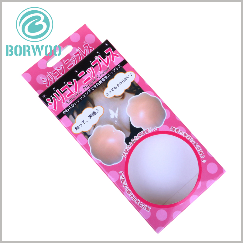 small Strapless bra packaging box with windows. There is a paper hook on the top of the customized package (connected to the main body of the package), which can hang the package and product for display.