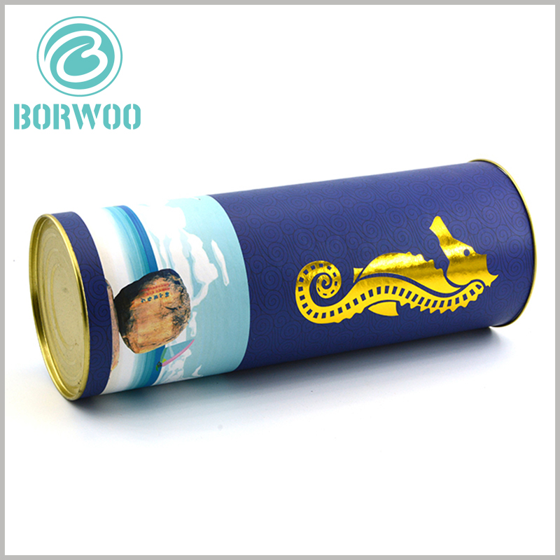 small food tube packaging with Metal cover. The food-grade cardboard tube packaging design combines the characteristics of health care products, and customers can easily understand the product through the packaging.