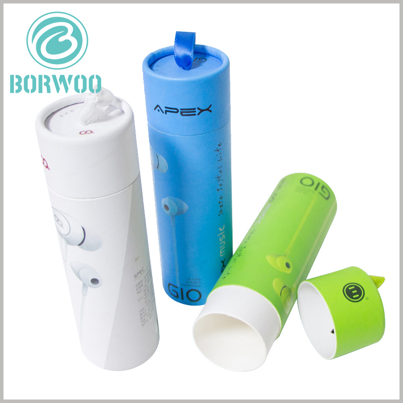 small paper tube boxes for earphone packaging. High-quality white cardboard is used as the main raw material of the paper tube, and the top and bottom edges of the cylindrical packaging are all rolled up