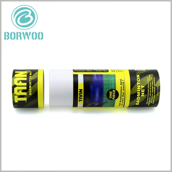 Custom paper tube packaging for badminton net. The unique sports packaging design integrates brand building needs and creates conditions for successful brand marketing