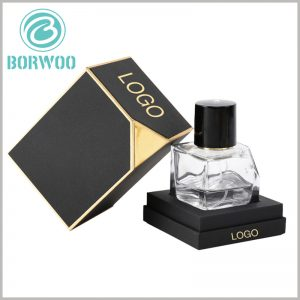 small perfume gift boxes with logo. The customized perfume box packaging uses 1200gsm gray board paper, tactile paper, and black EVA as raw materials. The packaging is robust and can protect fragile glass bottles.