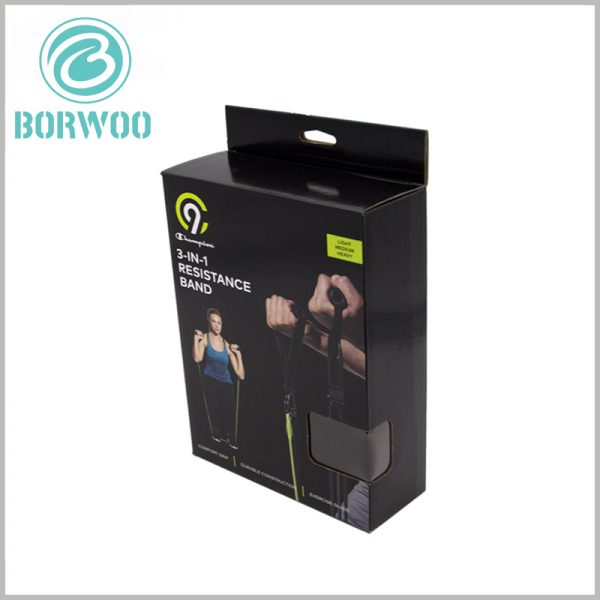 sports resistance band packaging. There is a paper label hook on the top of the sports packaging boxes, which is convenient for the products to be hung on the shelves for display.