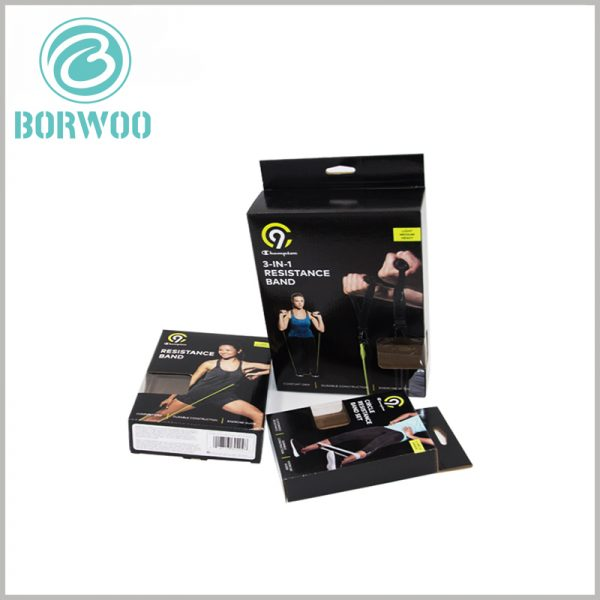 sports resistance band packaging boxes. The black packaging box can be printed with product-related patterns and text to promote the product.