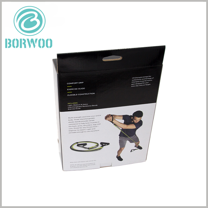 sports resistance band packaging custom. The use scenes and product text descriptions of the products are printed on the back of the customized packaging, so that customers can quickly understand the characteristics of the products.