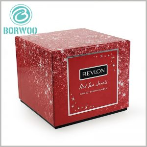 square cardboard candle boxes packaging with insert. The black cardboard is used as the internal plug-in of the package, which can be used to fix the aromatherapy glass, and the cost is low.
