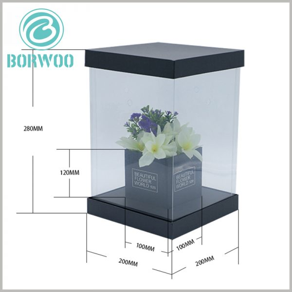 square dispaly boxes for flower packaging. The reference size of the outer box of this flower packaging box is 200mm×200mm×280mm. The size of the inner box of flowers is 100mm×100mm×120mm.