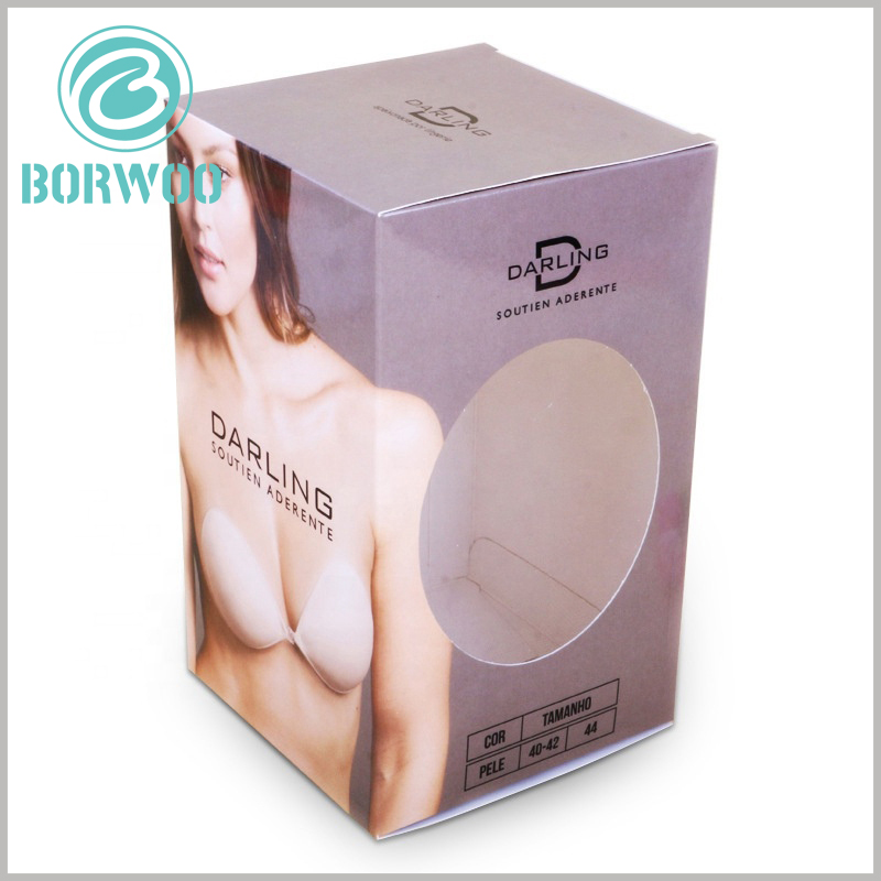 strapless bra packaging box with windows wholesale. There is an oval transparent window on the side of the underwear package, and customers can see the part of the product when the package is sealed.