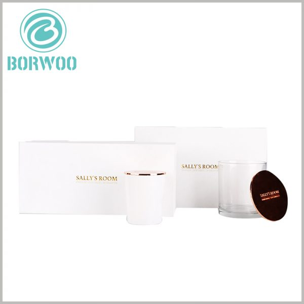 white cardboard candle box packaging wholesale. Customized cardboard box packaging size is determined according to the product to ensure that the product and the packaging are completely matched.