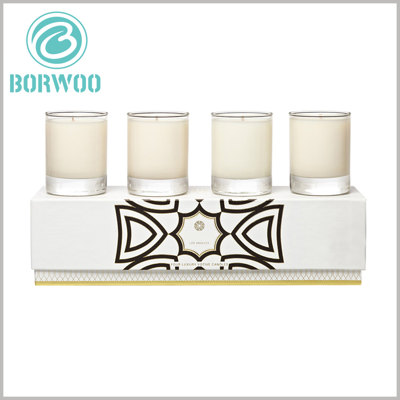 white cardboard candle boxes packaging for 4 jars. The size of the candle packaging is determined by the capacity of the candle jar and the number of candle jars that need to be accommodated.