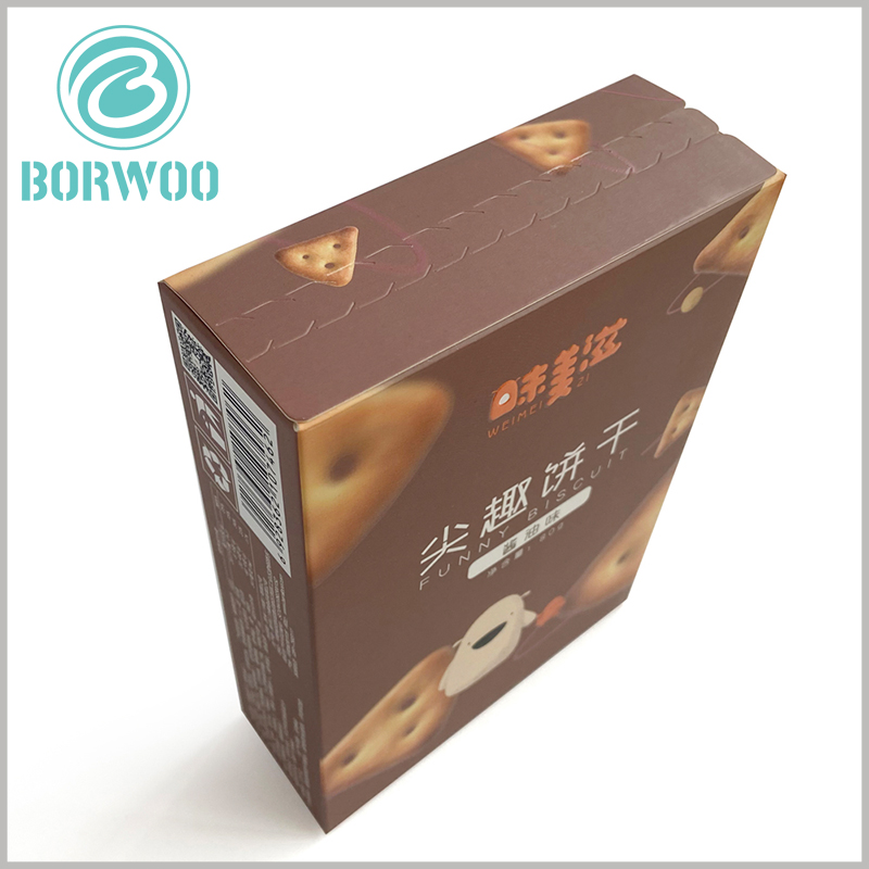 zipper open cardboard package for cookies. There is a zipper open on the top of the paper box, you can easily open the package and enjoy delicious cookies.